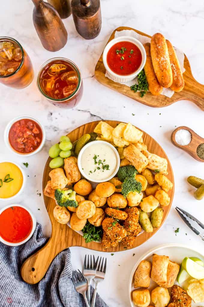 overhead of finger foods platter