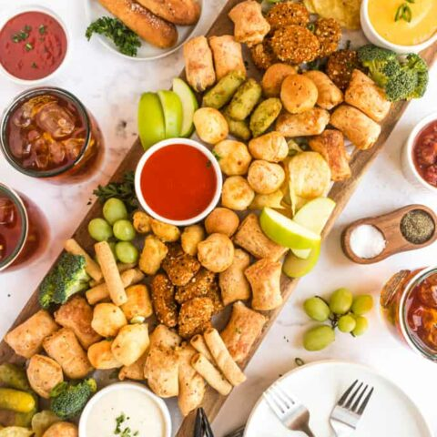 overhead picture of platter of food