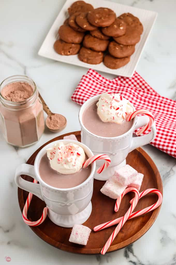 two mugs of hot cocoa