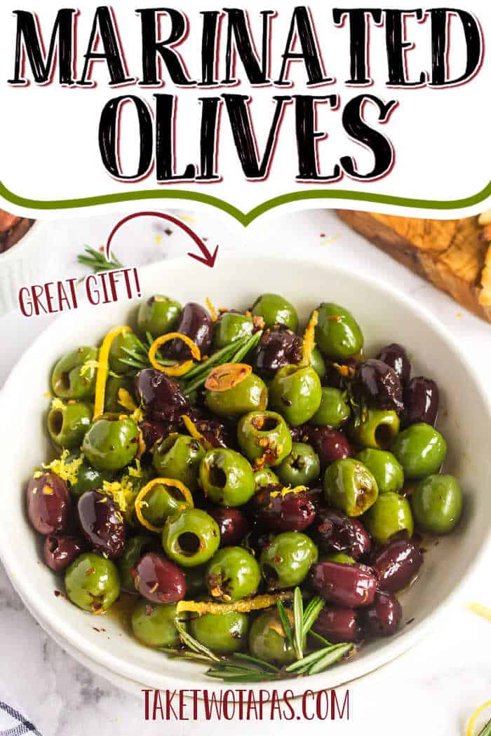 "bowl of olives with text ""marinated olives"""
