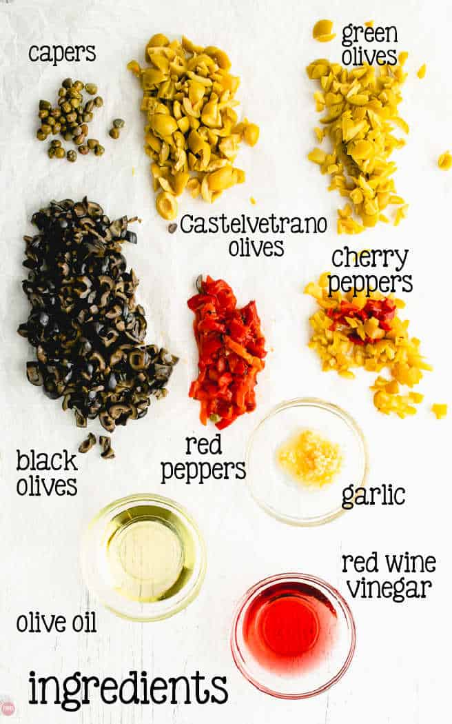 labeled picture of olive salad ingredients