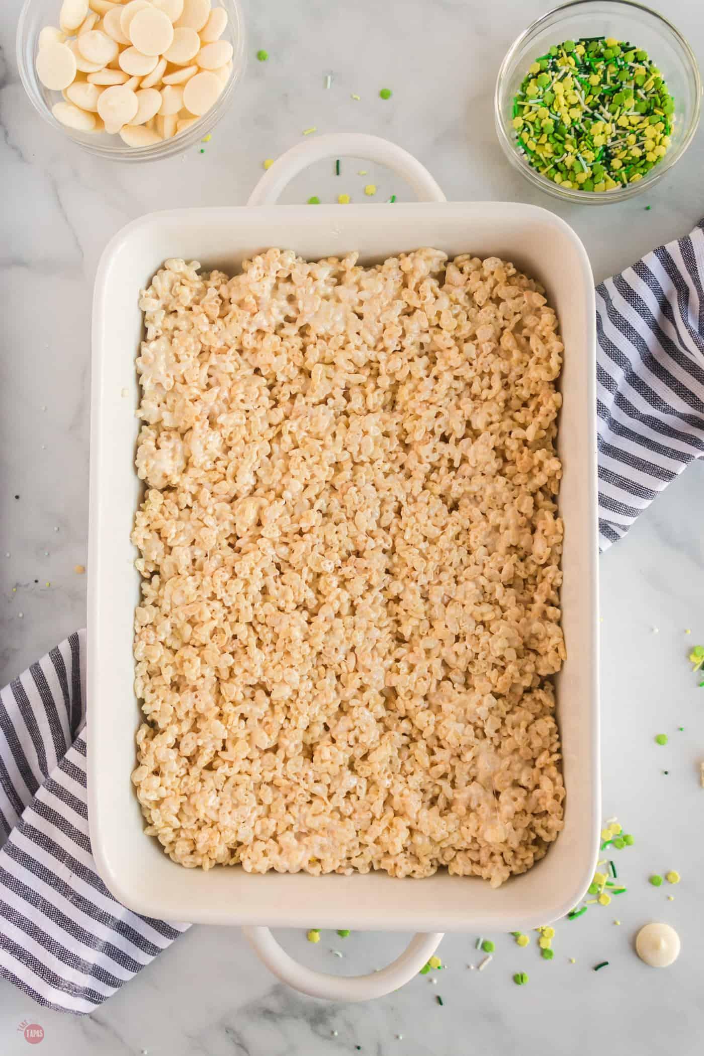 pan of rice krispie treats
