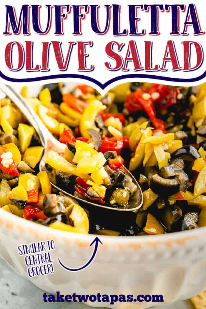 """spoon of olive salad with text """"muffuletta olive salad"""""""