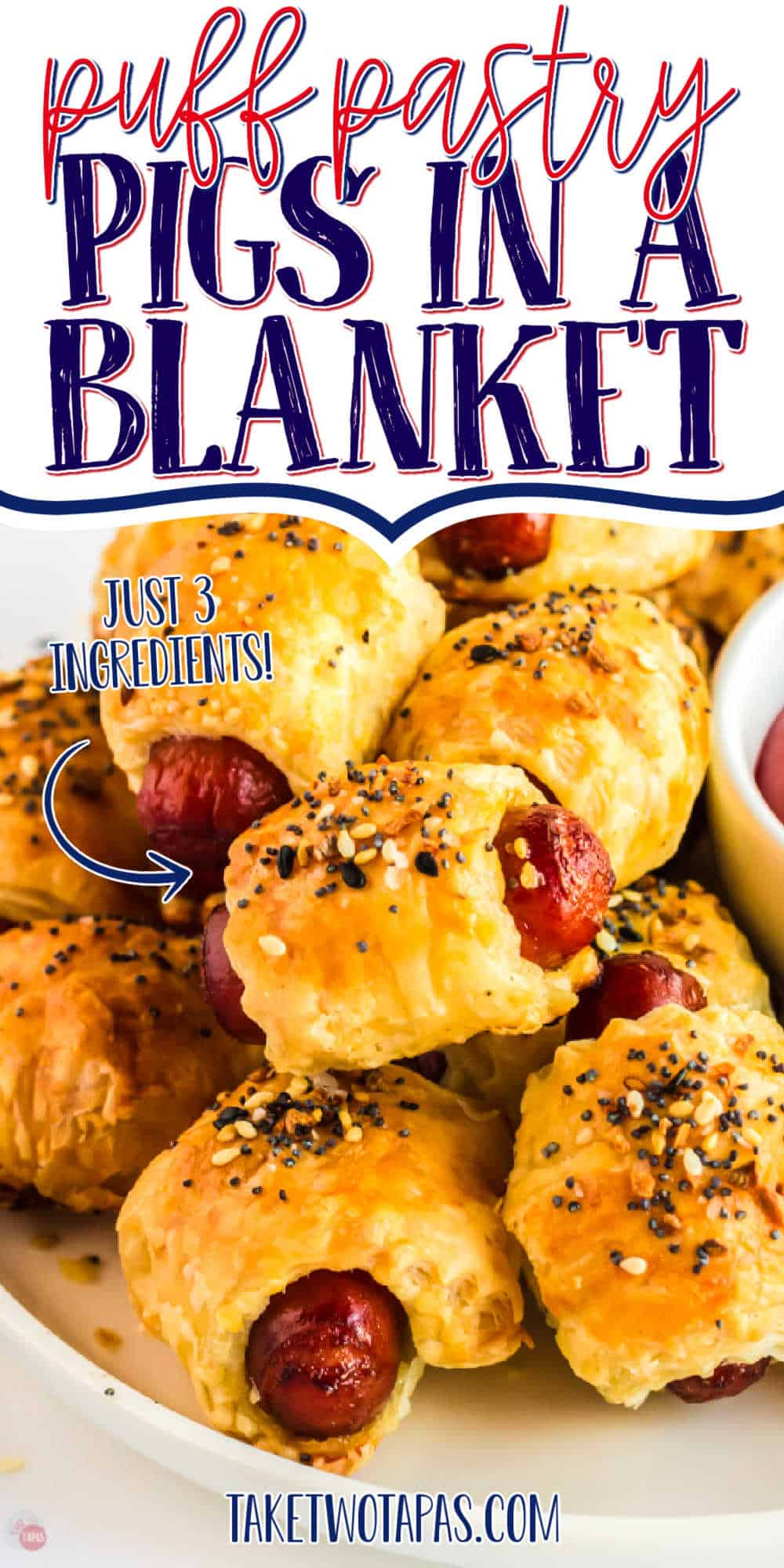 "mini puff pastry dogs with text ""puff pastry pigs in a blanket"""