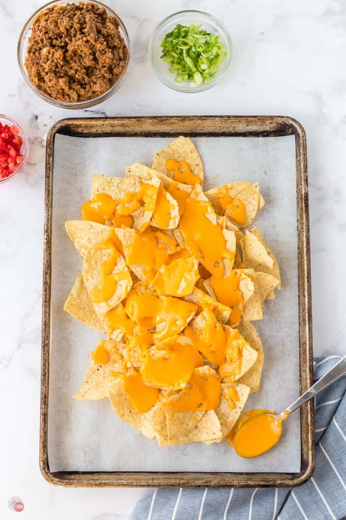 cheese and chips on sheet pan