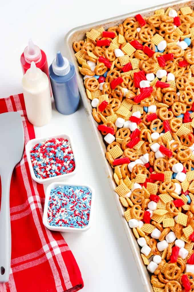 snack mix on a tray