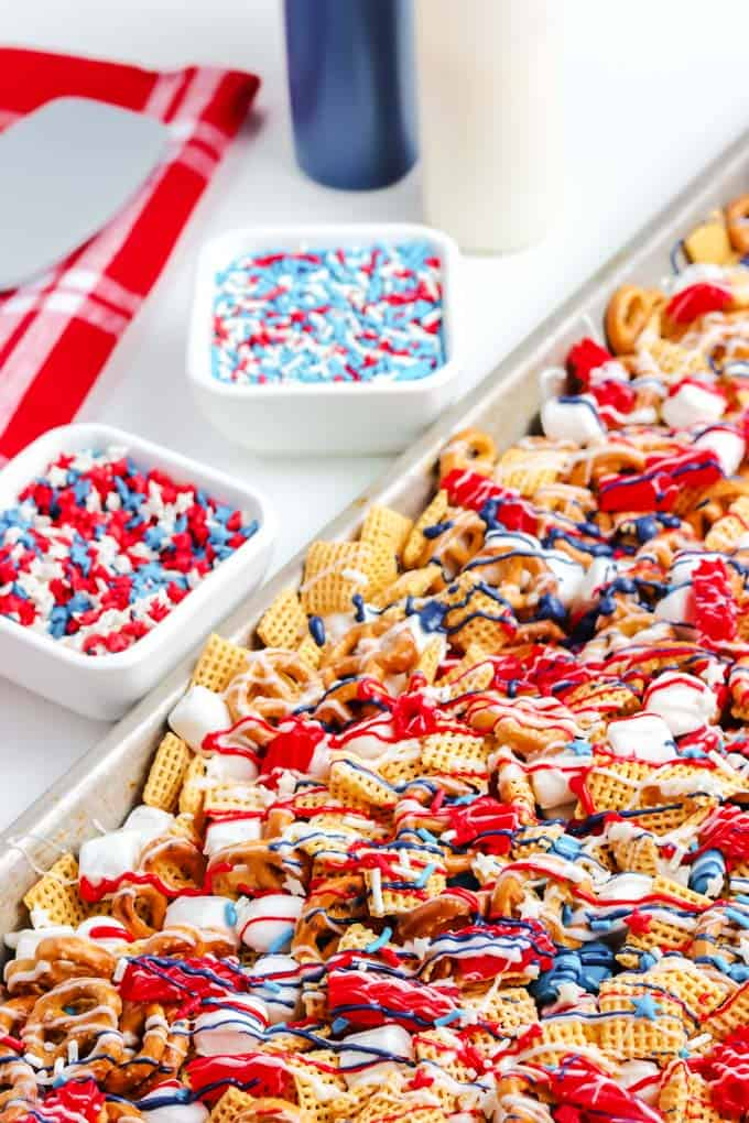 sheet pan of snack mix