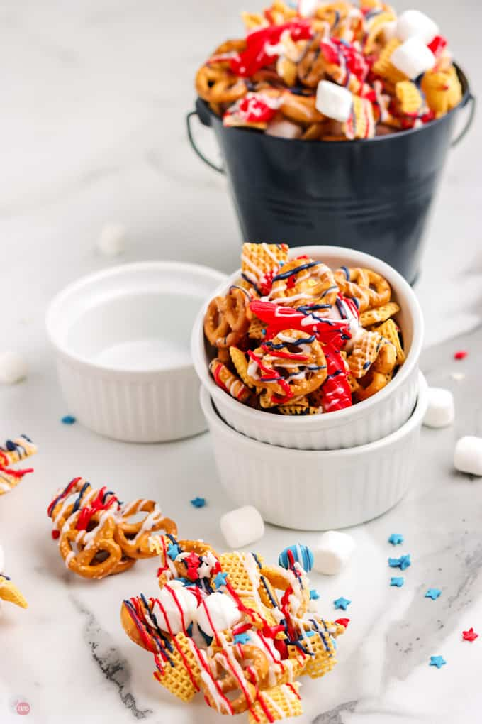 small bowls of snack mix