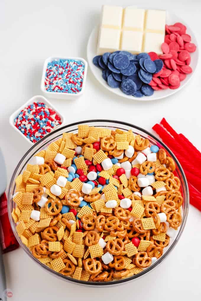 snack mix in a bowl