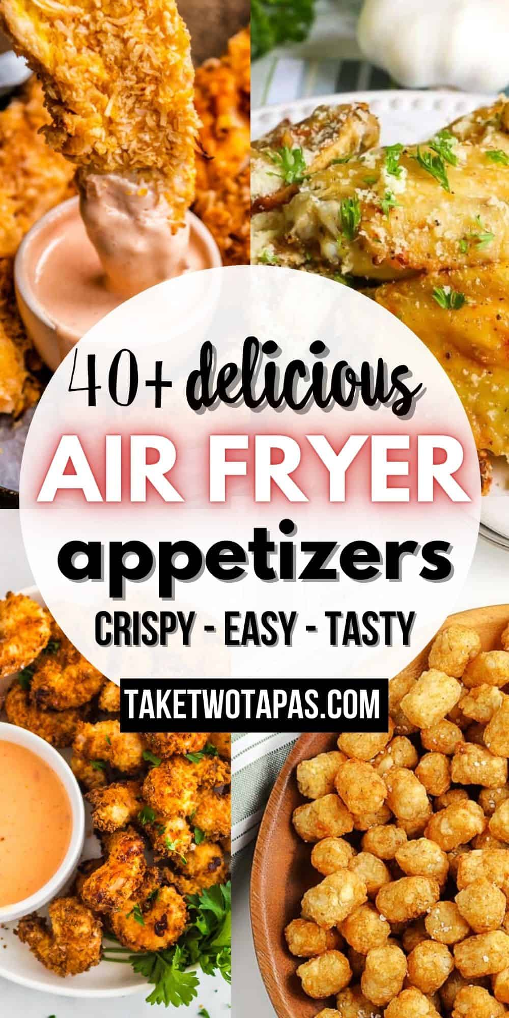 """collage with fried shrimp with text """"40+ air fryer appetizer recipes"""""""