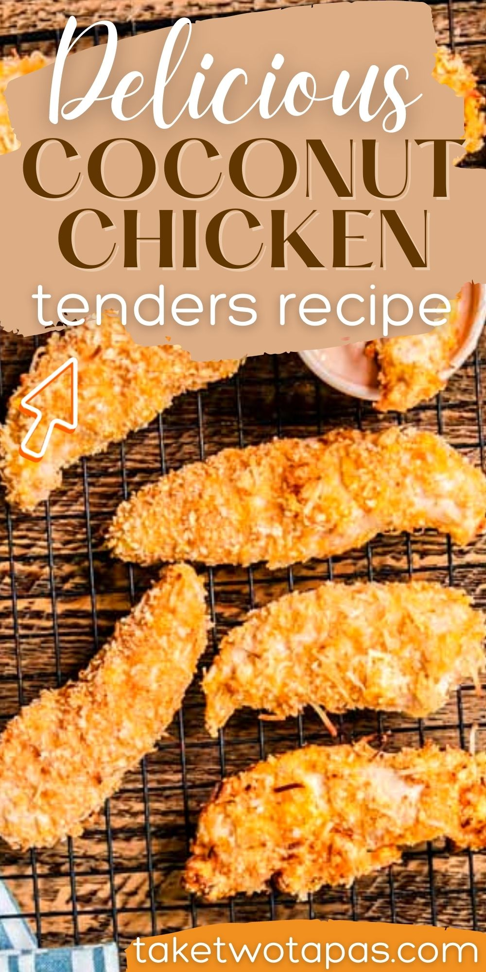 """collage of chicken with text """"super delicious coconut chicken tenders recipe"""""""