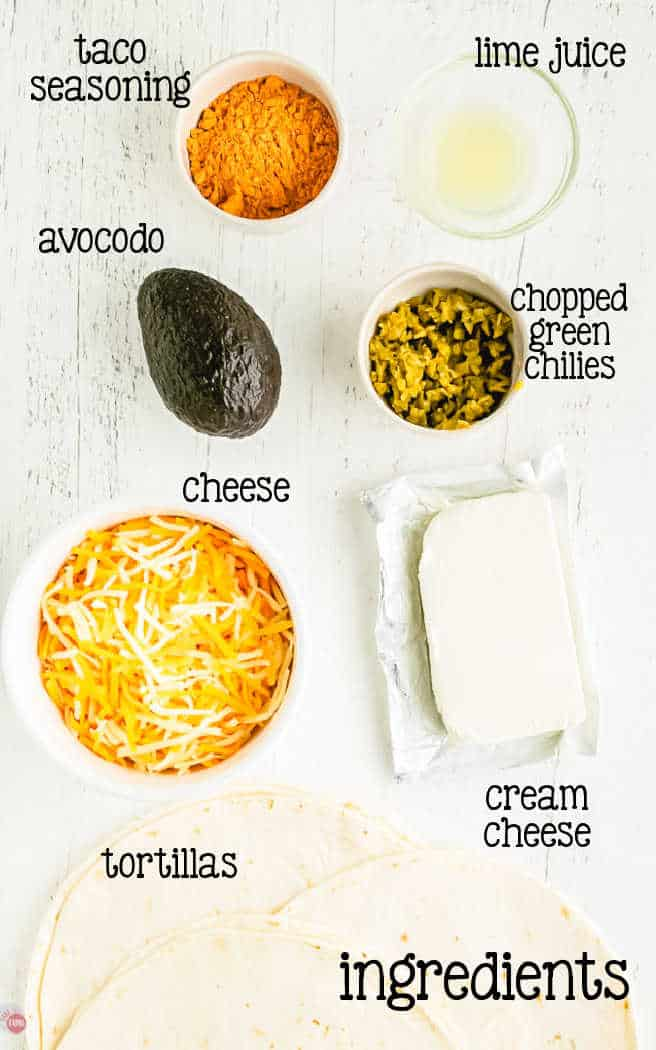 labeled picture of cheese ball ingredients