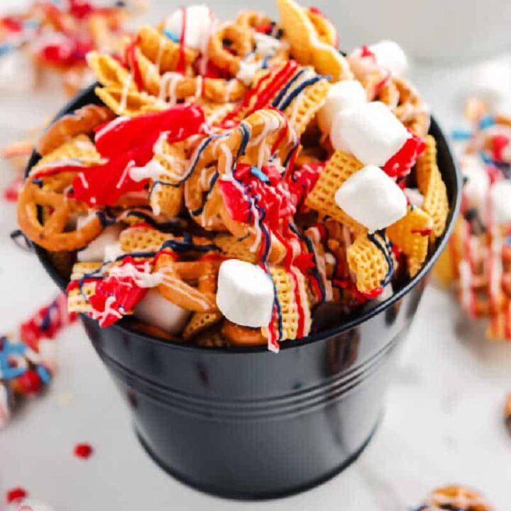 black pail of snack mix