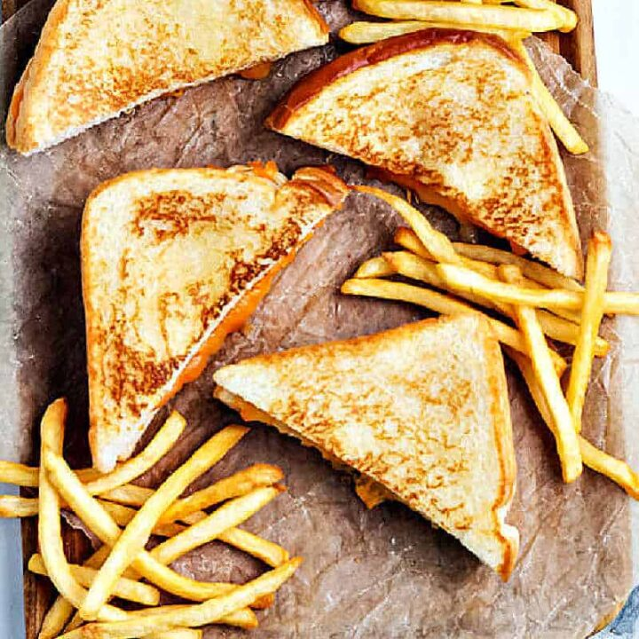 grilled cheese sandwiches with fries