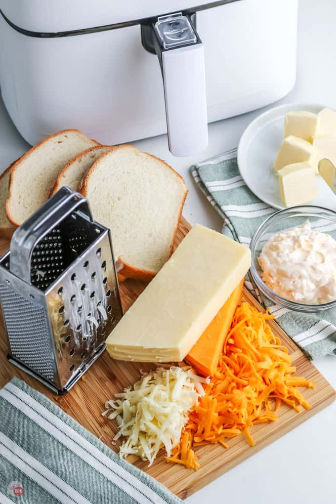 grated cheese on board