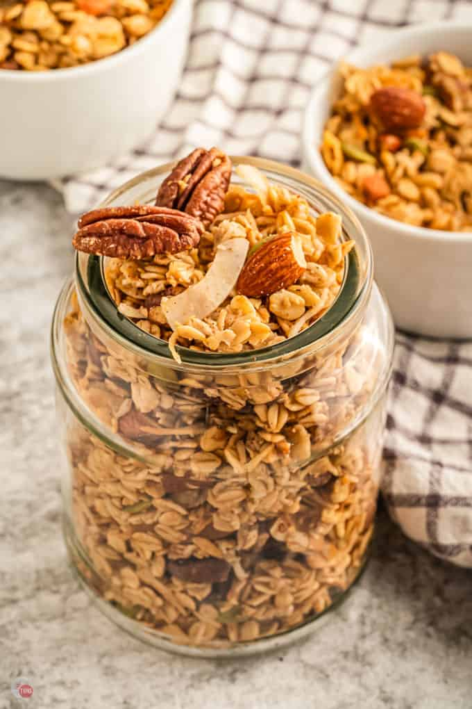 top of jar with granola
