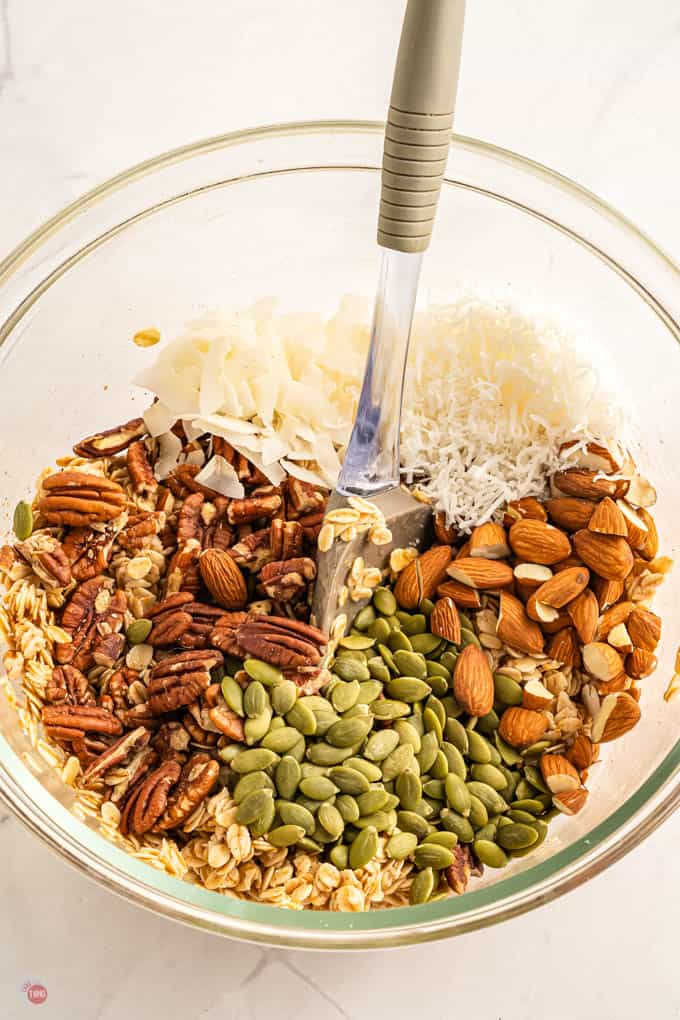 nuts in a bowl with spoon