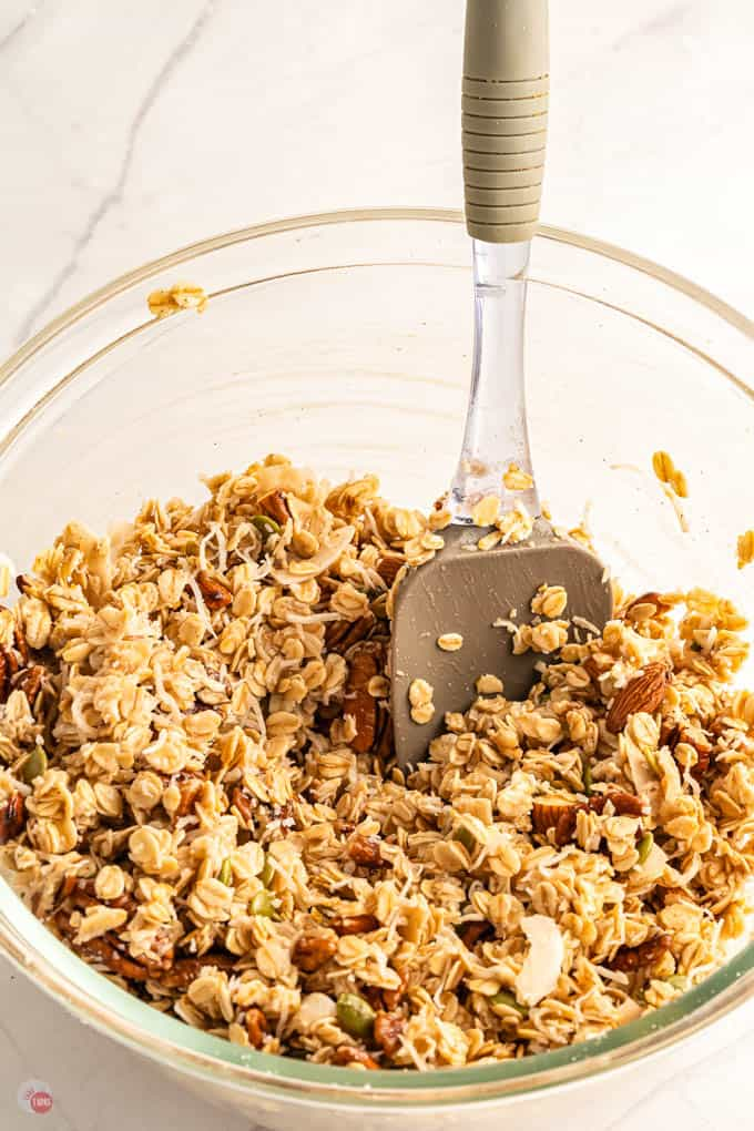 granola and spoon in a bowl