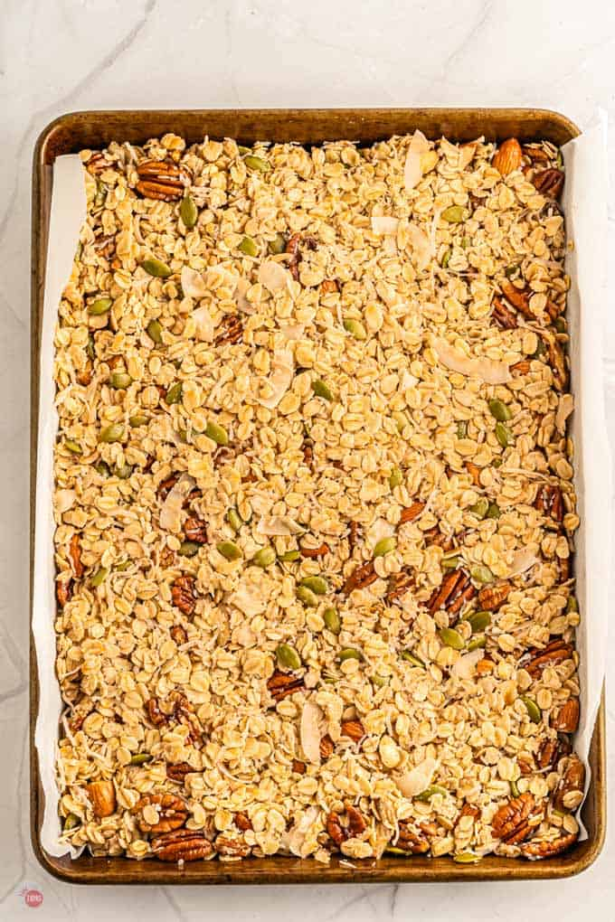 unbaked granola on a pan