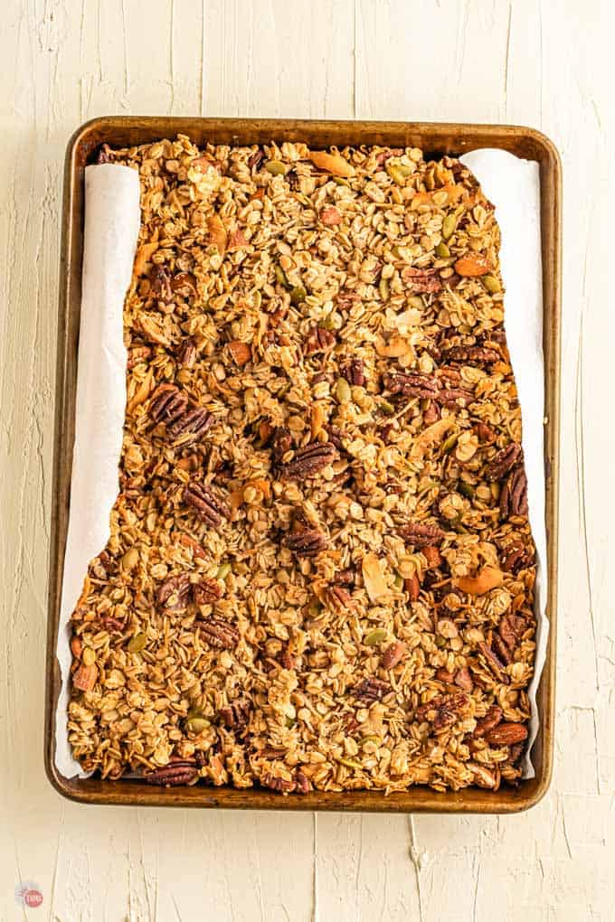 baked granola on pan