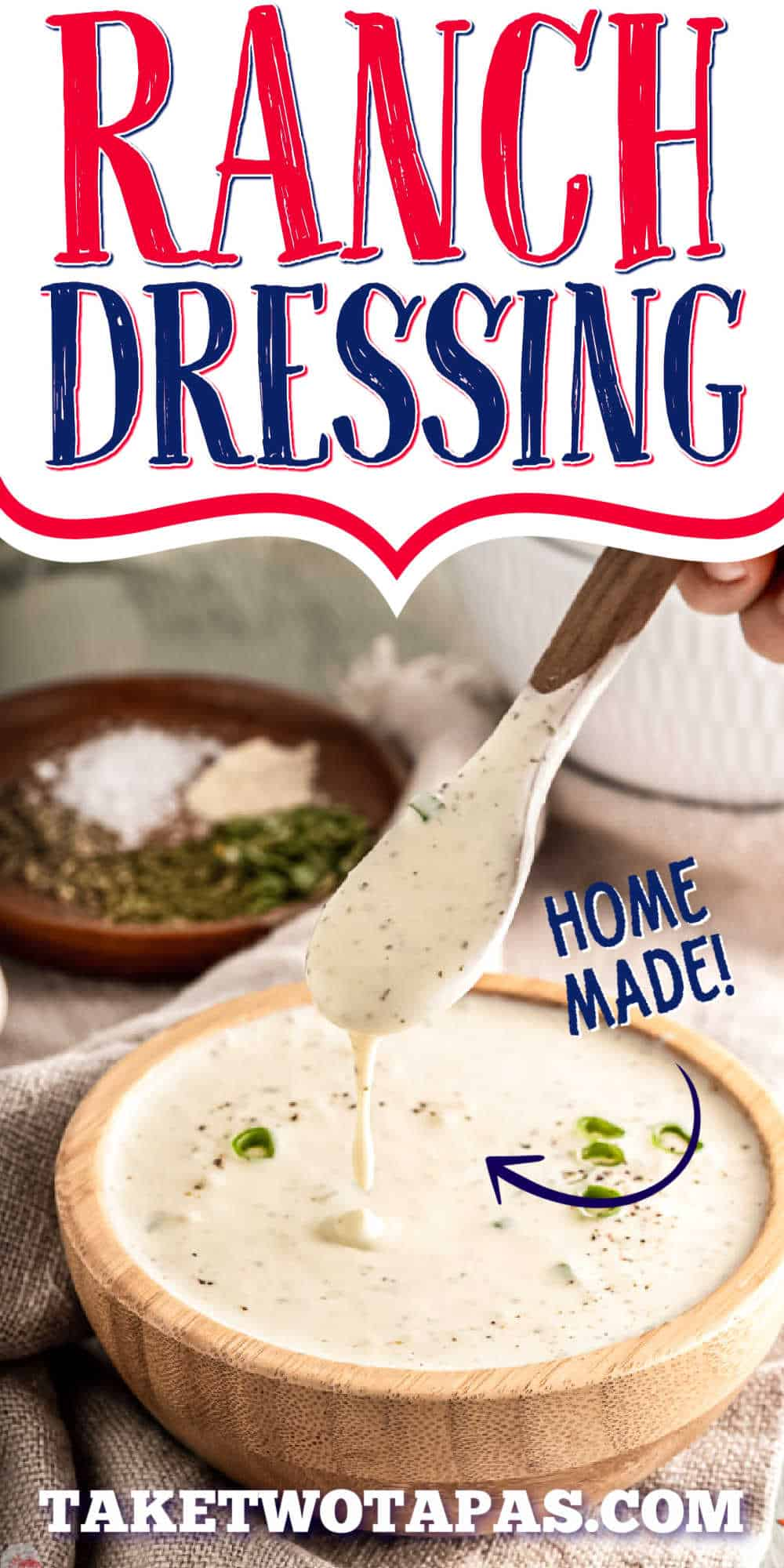 """bowl with spoon of dressing with text """"ranch dressing"""""""