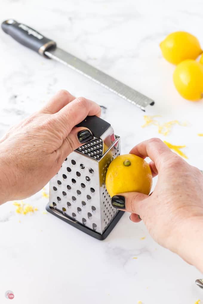 lemon on grater
