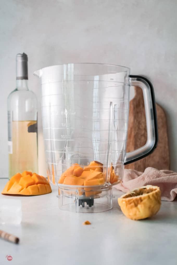 mango in a blender