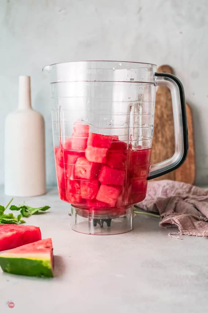 watermelon and wine in blender
