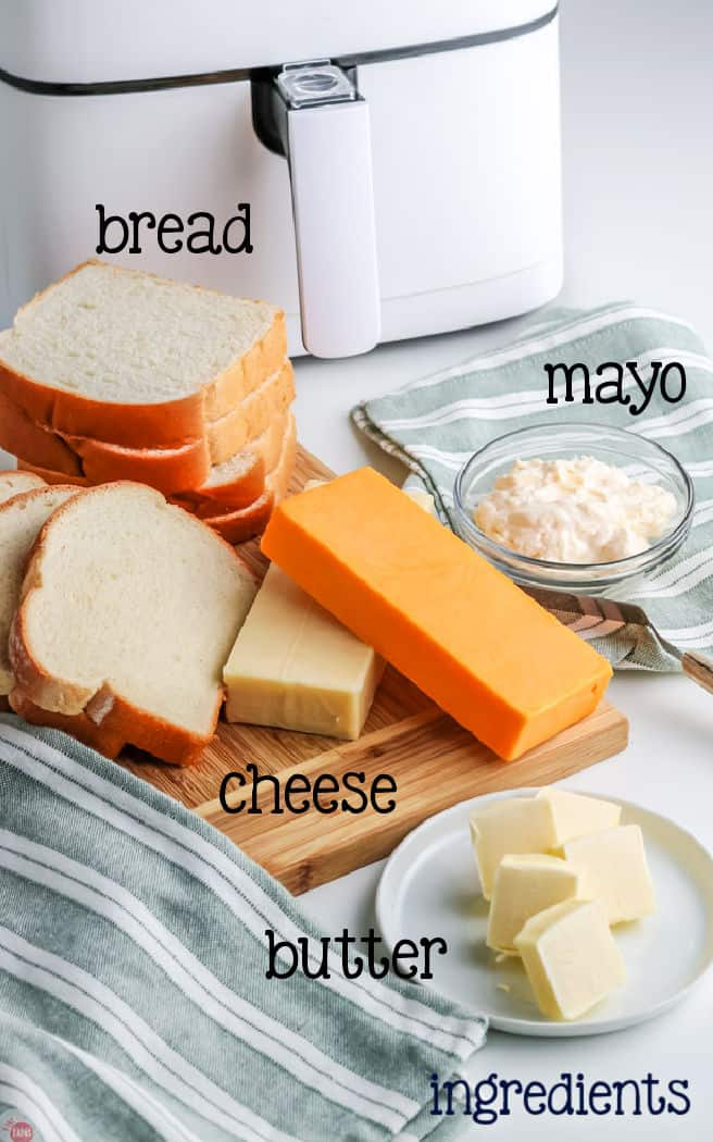 labeled picture of grilled cheese ingredients