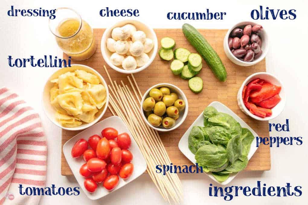 labeled picture of antipasto kebab ingredients