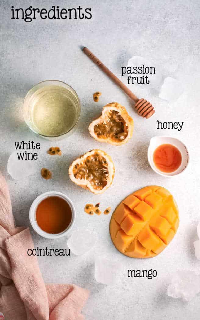 labeled picture of mango wine slushie ingredients