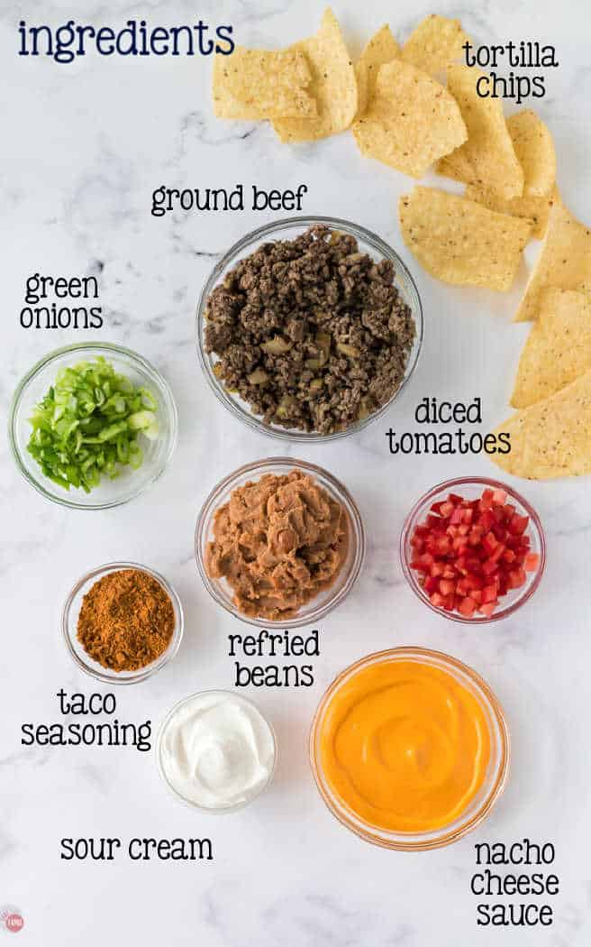 labeled ingredients for nachos