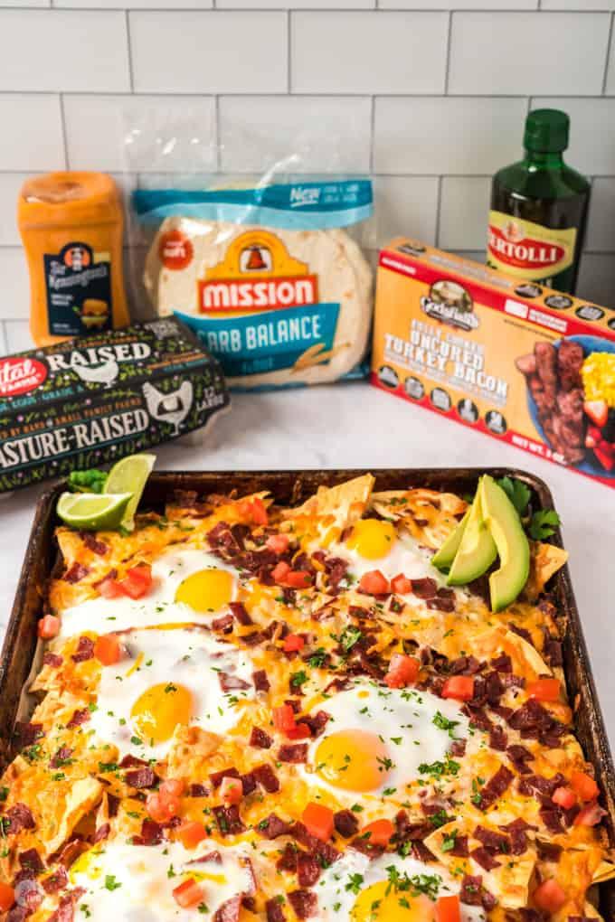 pan of nachos and ingredients in packages