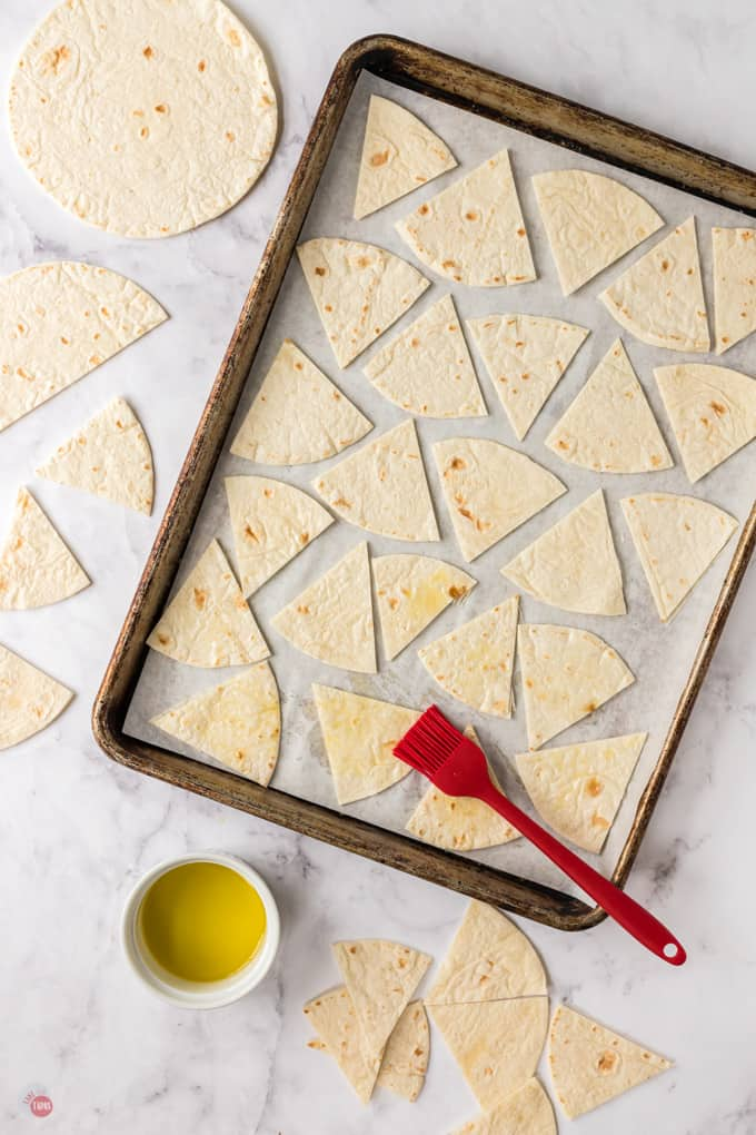raw tortilla wedges and olive oil