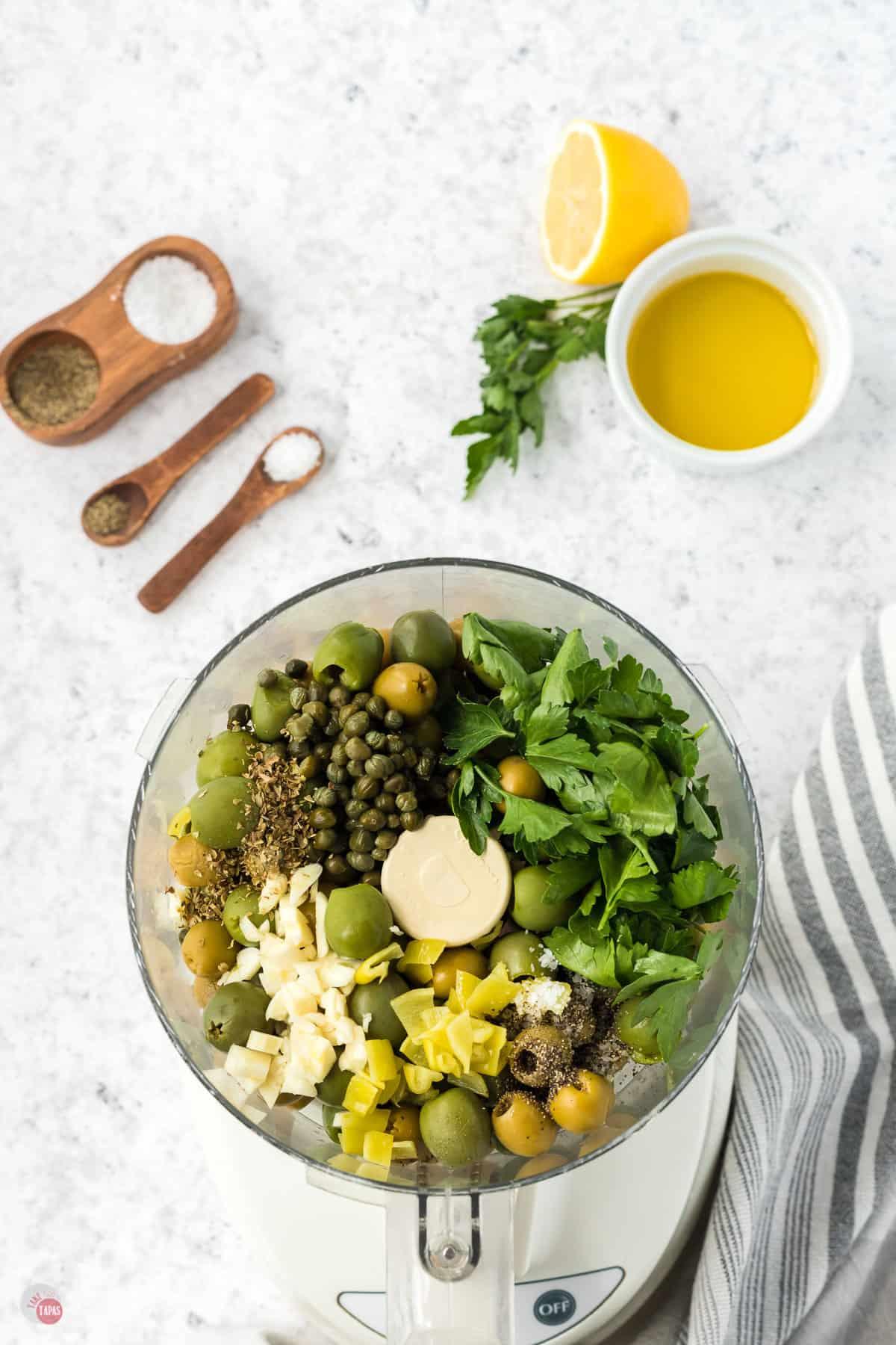 food processor bowl full of ingredients