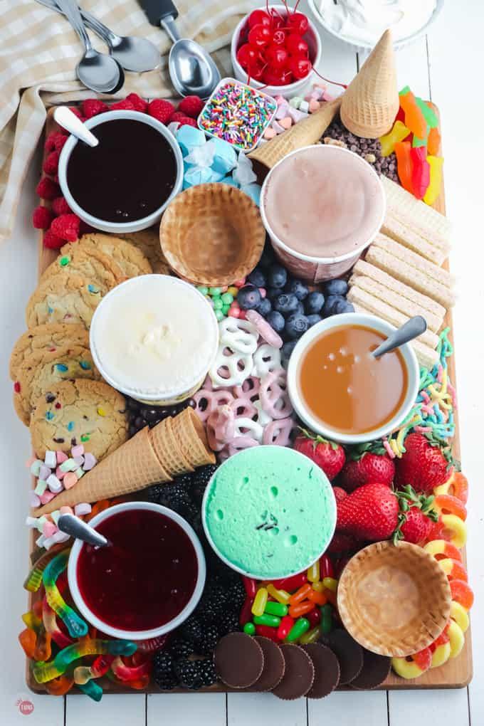 overhead of ice cream board