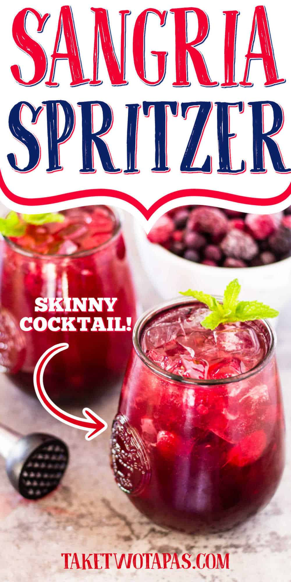 """glass of wine with text """"sangria spritzer"""""""