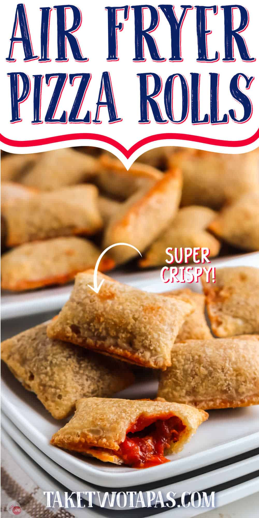 """air fryer pizza rolls with text """"air fryer pizza rolls"""""""