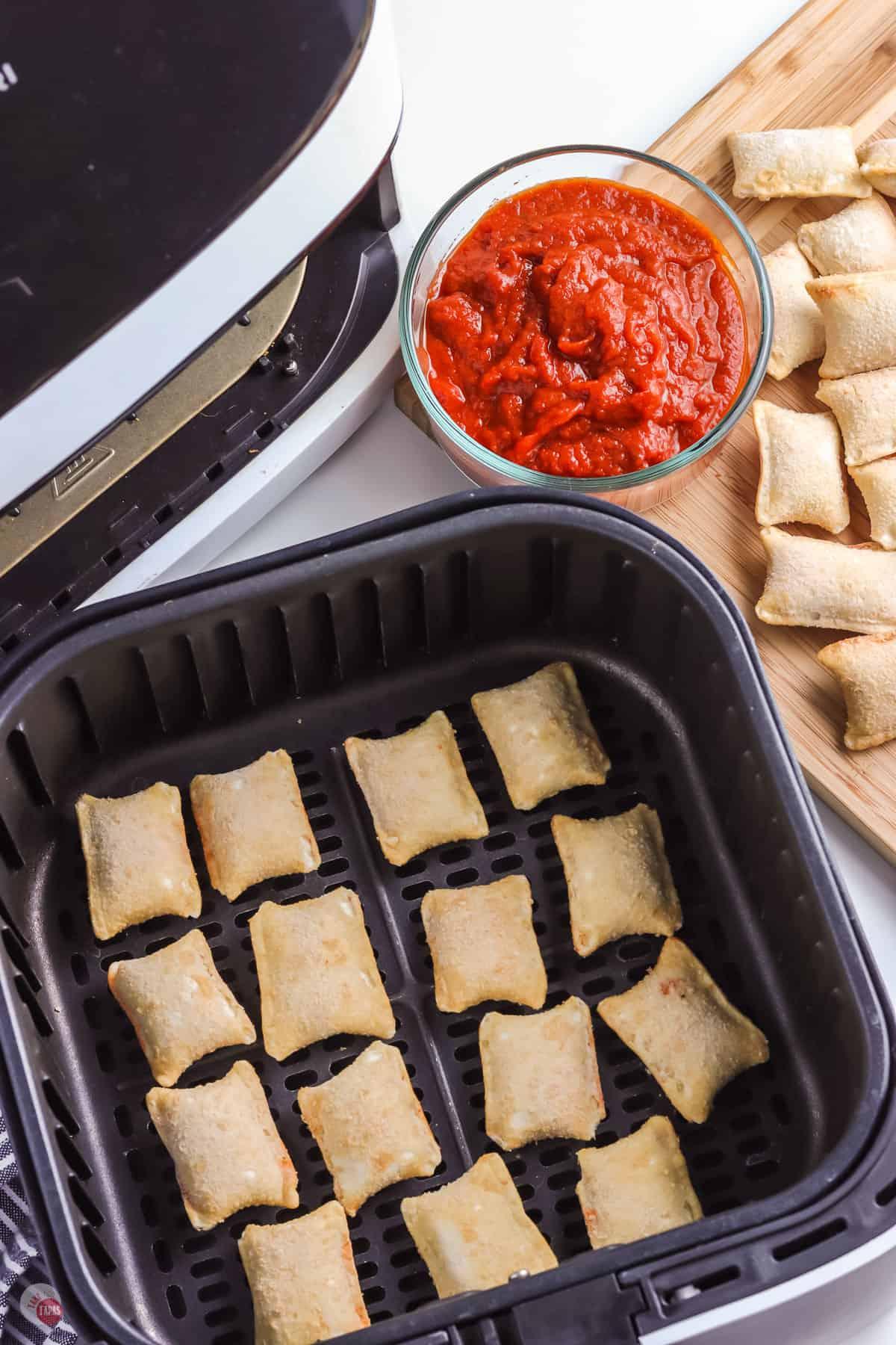frozen pizza rolls in a basket