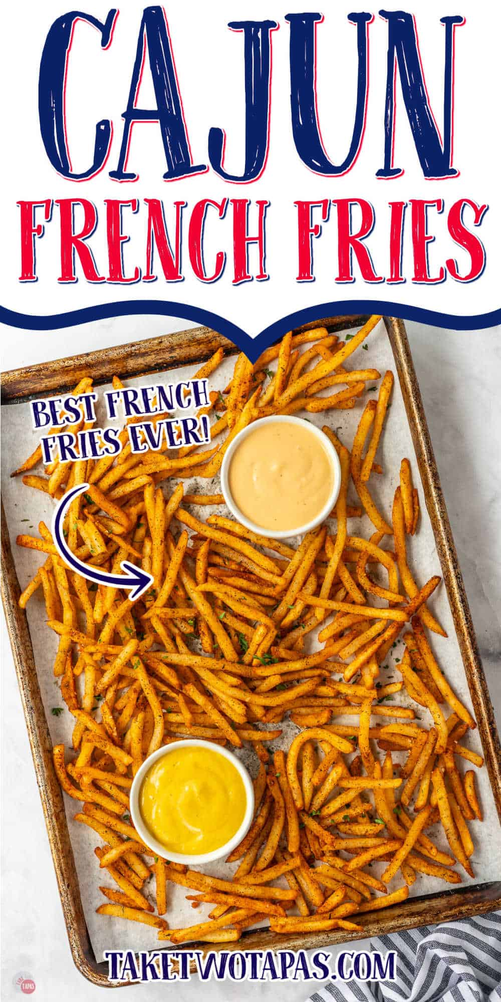"""sheet pan with french fries and text """"cajun french fries"""""""