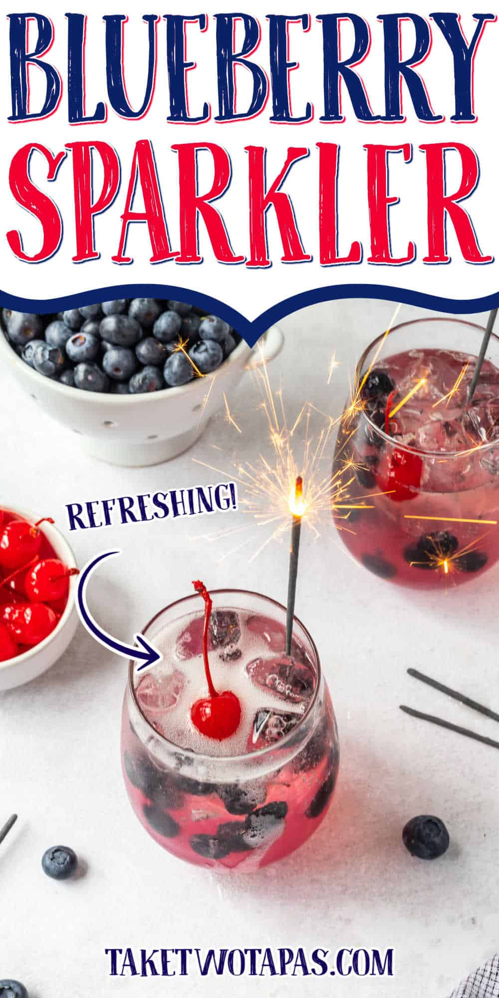 """cocktail with text """"blueberry sparkler"""""""
