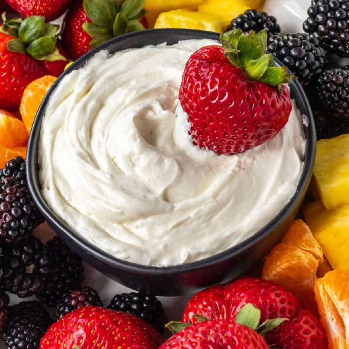 bowl of fruit dip with strawberry