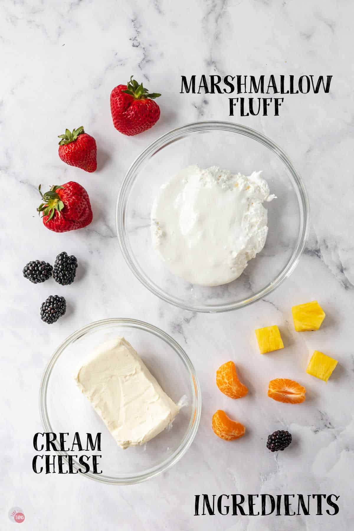 labeled picture of fruit dip ingredients