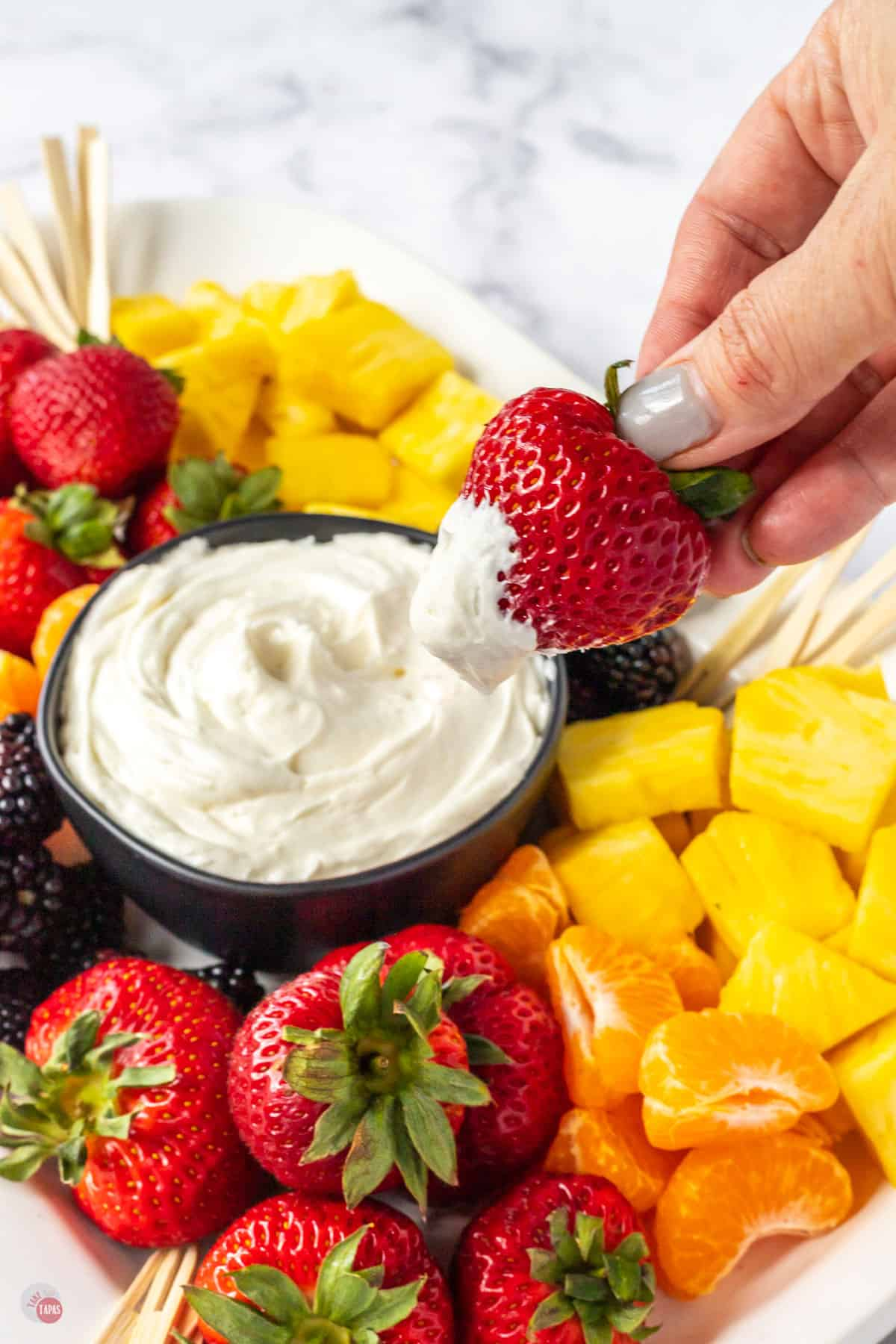 strawberry dipped in white dip