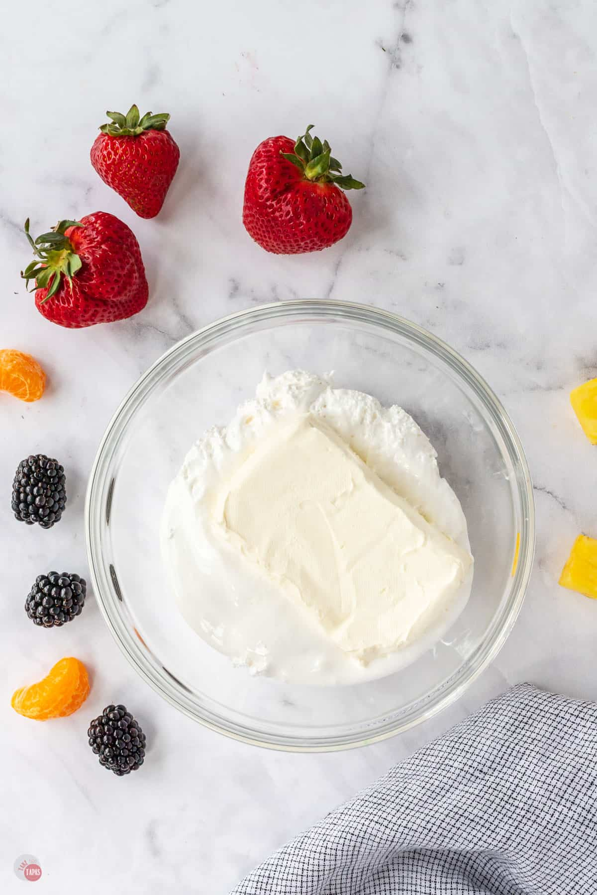 bowl of cream cheese and marshmallow
