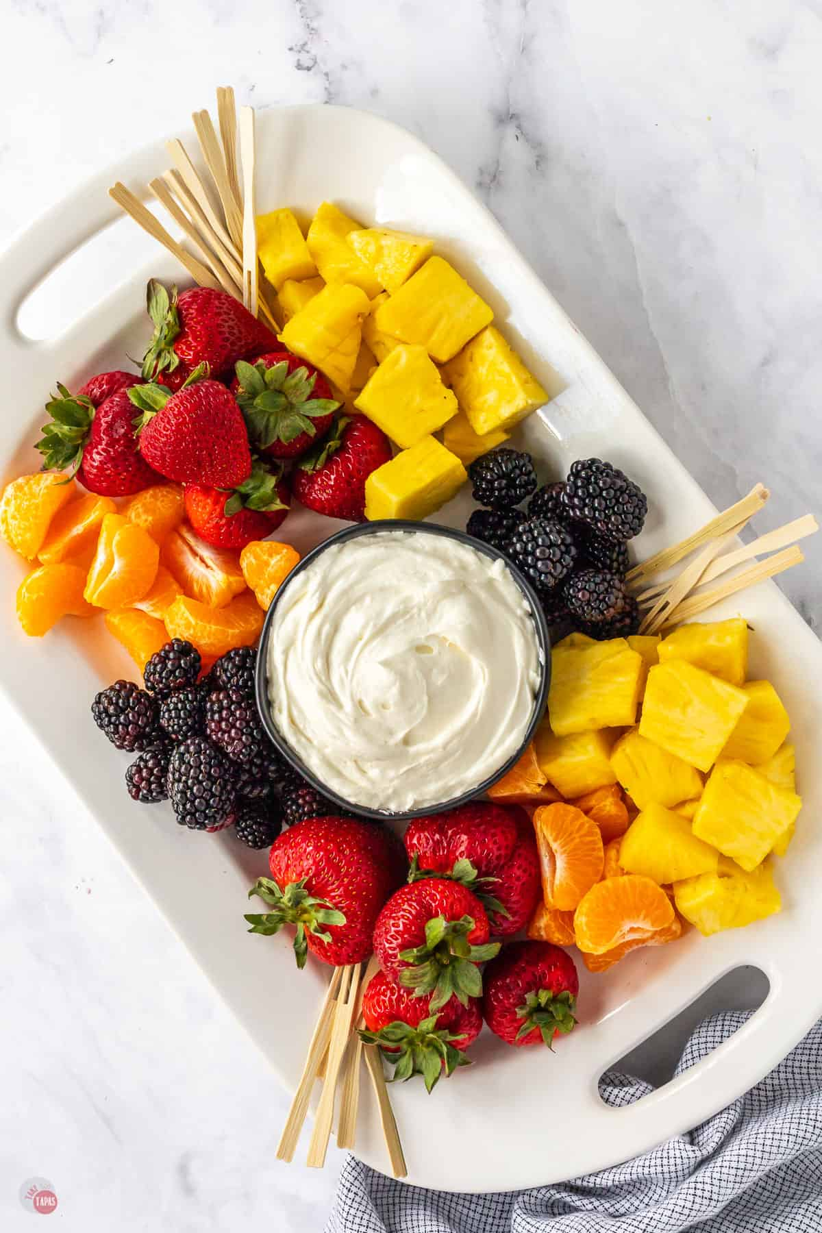 platter of fruit and dip
