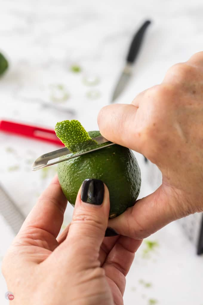 vegetable peeler and lime