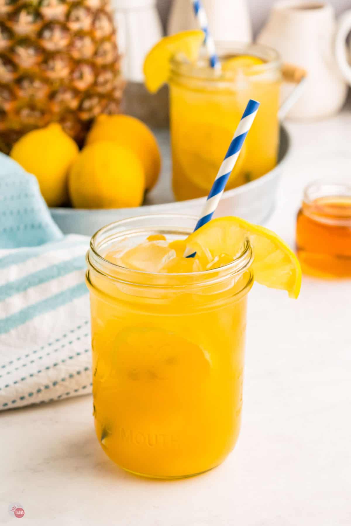 glass of bourbon lemonade