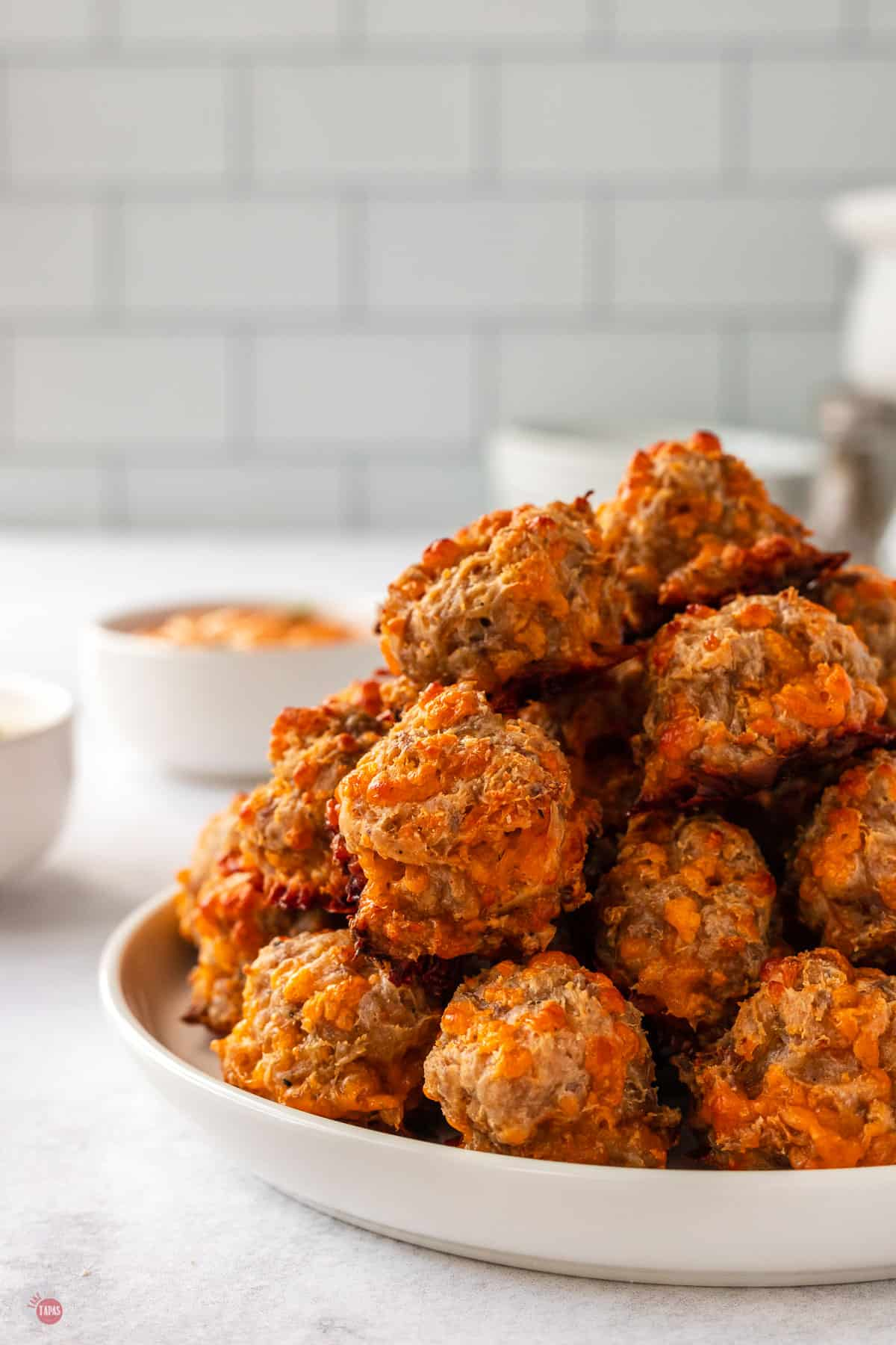 side view of plate of sausage balls
