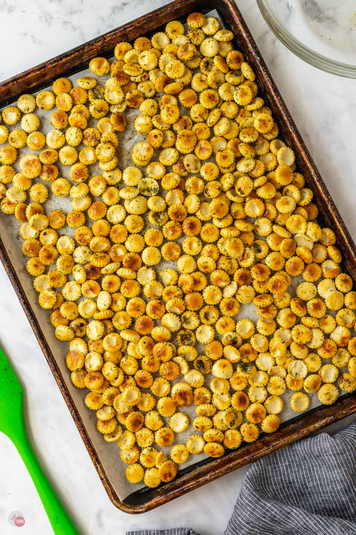 oyster crackers on a baking sheet